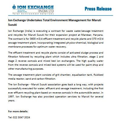 Ion Exchange Undertakes Total Environment Management for Maruti Suzuki